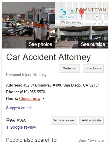 Google local result for San Diego Car Accident Attorney